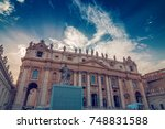 exterior of st. peter basilica... | Shutterstock . vector #748831588