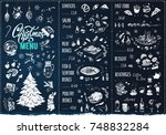 christmas menu. template ... | Shutterstock .eps vector #748832284
