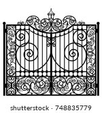 black metal gate with forged... | Shutterstock .eps vector #748835779