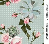 succulents and roses vector... | Shutterstock .eps vector #748836010