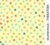 seamless pattern with colorful... | Shutterstock . vector #748837084