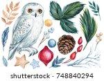 watercolor  hand drawing  set... | Shutterstock . vector #748840294