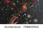 greeting season concept.hand... | Shutterstock . vector #748843963