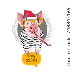 christmas card. portrait of the ... | Shutterstock .eps vector #748845169