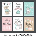christmas hand drawn cute cards ... | Shutterstock .eps vector #748847014