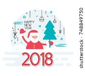 happy new year 2018 year with...   Shutterstock .eps vector #748849750