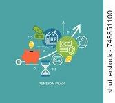 pension plan concept... | Shutterstock .eps vector #748851100