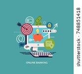 online banking flat vector...   Shutterstock .eps vector #748851418