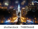 colorful fireworks above...   Shutterstock . vector #748856668