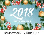 happy new year lettering with... | Shutterstock .eps vector #748858114