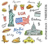 set of america symbols... | Shutterstock .eps vector #748858336