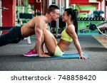 fitness couple workout   fit... | Shutterstock . vector #748858420