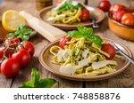 pasta pesto basil  fresh... | Shutterstock . vector #748858876