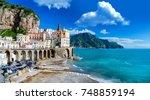 the amalfi coast in italy | Shutterstock . vector #748859194