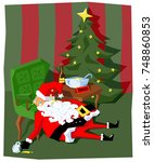 santa claus drunk from drinking ... | Shutterstock .eps vector #748860853