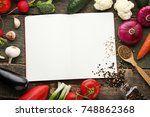 blank recipe book with... | Shutterstock . vector #748862368