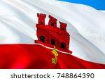 gibraltar flag. flag of... | Shutterstock . vector #748864390