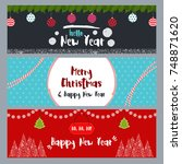 set of christmas and new year... | Shutterstock .eps vector #748871620