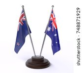 table flags  new zealand and... | Shutterstock . vector #748871929