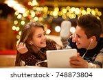 cheerful young children... | Shutterstock . vector #748873804