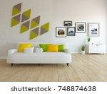 white scandinavian room...   Shutterstock . vector #748874638