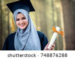 proud pretty muslim girl... | Shutterstock . vector #748876288