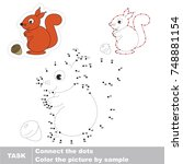 red squirrel. dot to dot... | Shutterstock .eps vector #748881154