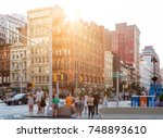 crowd of anonymous people... | Shutterstock . vector #748893610