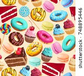 seamless pattern with sweets | Shutterstock .eps vector #748895446
