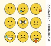 set of smile icons. emoji.... | Shutterstock .eps vector #748895470