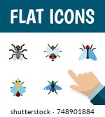 flat icon fly set of gnat ... | Shutterstock .eps vector #748901884