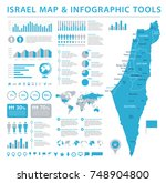 israel map   detailed info... | Shutterstock .eps vector #748904800