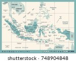 indonesia map   vintage... | Shutterstock .eps vector #748904848