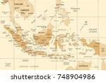 indonesia map   vintage... | Shutterstock .eps vector #748904986