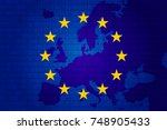 flag of european union and map... | Shutterstock .eps vector #748905433