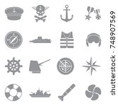navy icons. gray flat design.... | Shutterstock .eps vector #748907569