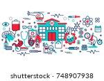 flat line design website banner ... | Shutterstock .eps vector #748907938