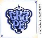 vector logo for blue grape ... | Shutterstock .eps vector #748908628