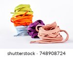 stack of multicolored shoe... | Shutterstock . vector #748908724
