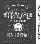 travel. vector hand drawn... | Shutterstock .eps vector #748909264