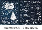 christmas menu template. chalk... | Shutterstock .eps vector #748910926