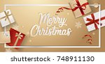 merry christmas greeting card.... | Shutterstock .eps vector #748911130