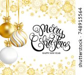merry christmas and happy new... | Shutterstock .eps vector #748915564