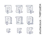 contract vector icons. legal... | Shutterstock .eps vector #748916854