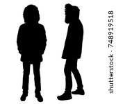 vector silhouettes of man ... | Shutterstock .eps vector #748919518