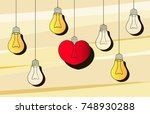 vector light bulb icon with... | Shutterstock .eps vector #748930288