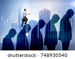 business people climbing career ... | Shutterstock . vector #748930540