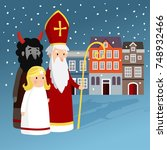 cute saint nicholas with angel  ... | Shutterstock .eps vector #748932466