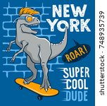 the dinosaur is riding on a... | Shutterstock .eps vector #748935739