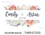 vector floral wedding... | Shutterstock .eps vector #748937320